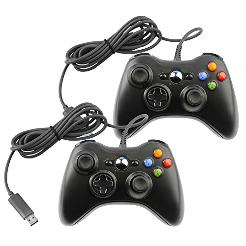 - Replacement Controller for Microsoft Xbox 360 & Windows PC Wired Black (2-Pack)