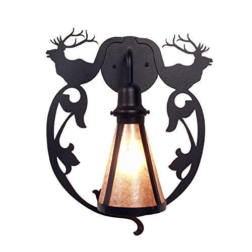 Steel Partners Lighting BAV2230-OI Bavarian ELK Wall Sconce with Amber Mica Lens, Old Iron Finish ()