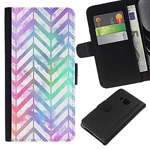 EJOY---La carpeta del tirón la caja de cuero de alta calidad de la PU Caso protector / HTC One M9 / --Blanco iridiscente de neón