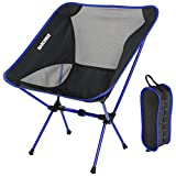 MARCHWAY Ultralight Folding Camping Chair, Portable Compact for Outdoor Camp, Travel, Beach, Picnic, Festival, Hiking, Lightweight Backpacking (Dark Blue)