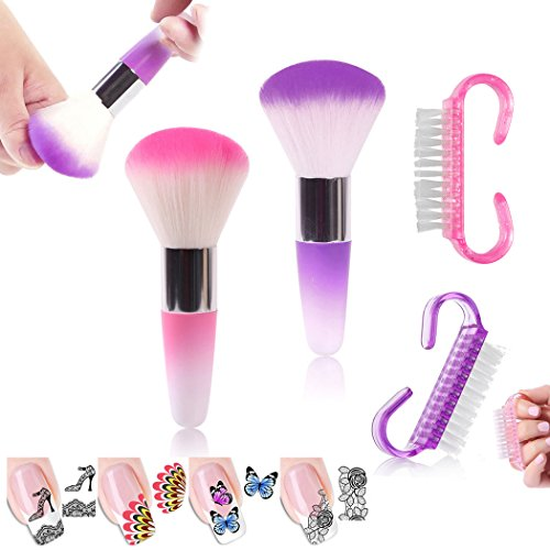 2Pcs Round Nail Brushes 2Pc Nylon Mini Nail Dust Brushes Manicure Nail Art Designs Manicure Nail Brushes Set 4 Sheets Decal Nail Art Stickers (LUCK015H)