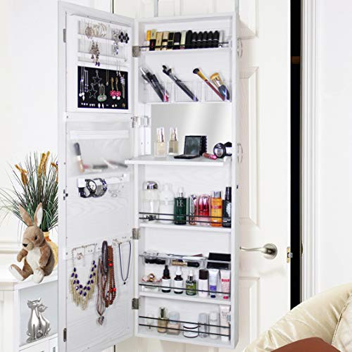 Blissun Jewelry Cabinet Armoire, Mirrored Jewelry Armoire, Door/Wall Mounted Jewelry Storage Organizer (White) (Cabinet Mirror Jewelry)