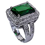 Yazilind 10mm*14mm Emerald Cut Green Created Emerald Silver Plated Ring