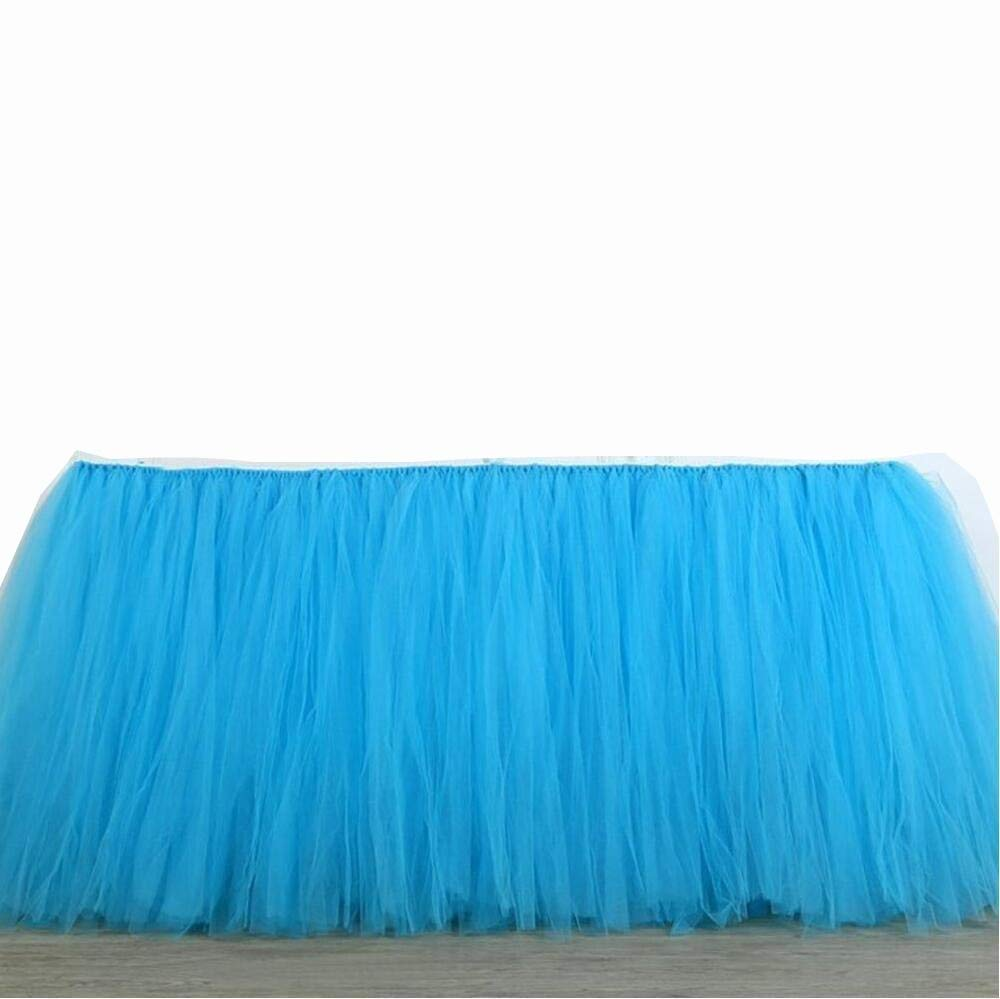 Tulle Table Skirt Fabric Tutu Table Clot for Rectangle or Round Tables / Fashion Deluxe Romantic Wedding Birthday Party Baby Shower Decorative tablecloth / Table Cover (Blue L:91cm H:79cm)