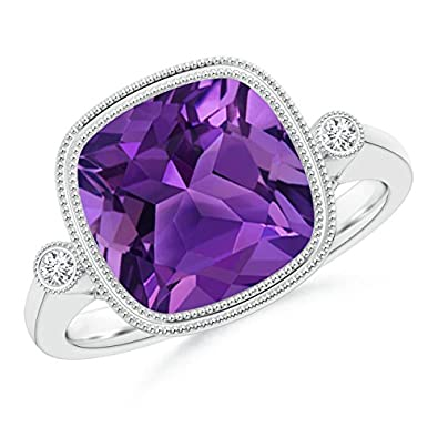 Angara Double Milgrain Outline Cushion Amethyst Solitaire Ring phLFl