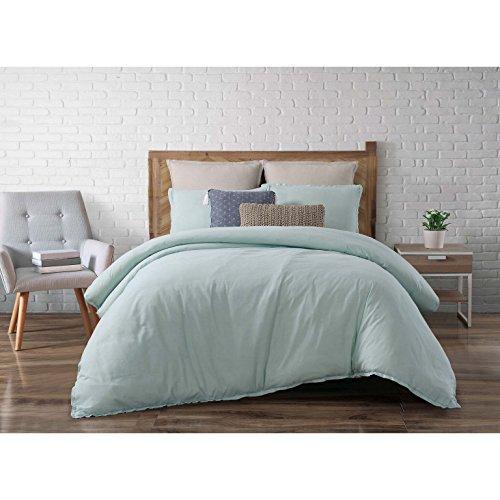 Brooklyn Loom Chambray Loft 3 Piece Comforter Set  Full Queen  Aqua