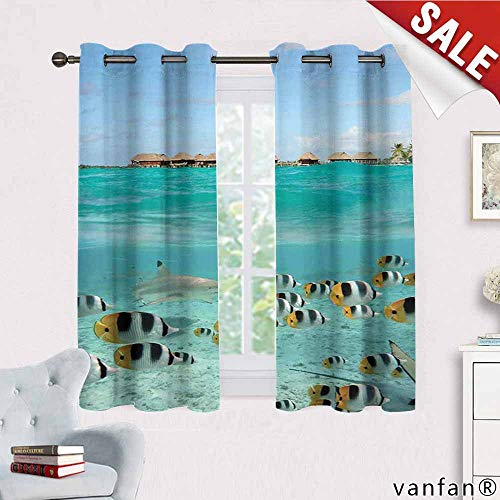 Big datastore Ocean Curtains hippieBlacktip Reef Shark Chasing Butterfly Fish Lagoon of Bora Bora Tahiti Thermal Insulated Tie Up W72 x L63 Aqua Yellow and Black