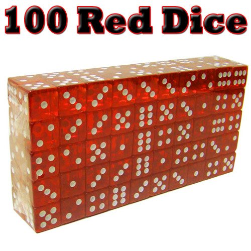 Block of 100 New 19mm Translucent Casino Dice - Choose! by Poker
