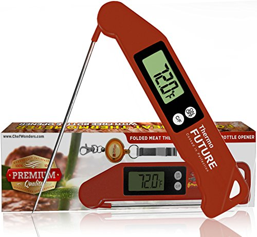 ThermoFuture Instant Read Digital BBQ Cooking Meat Thermometer with Probe and Bottle Opener Red
