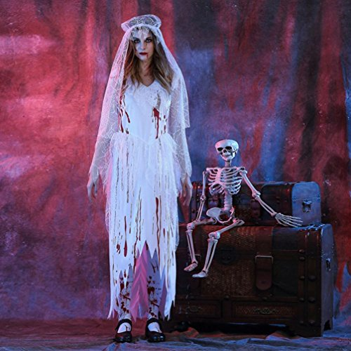 Sinwo Womens Sexy White Corpse Bride Halloween Cosplay Party Costume Halloween Party Props Cosplay Dress Halloween Costume+Hat (White, M)