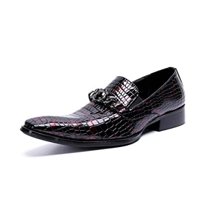 5e9339861dc4 Winklepicker Men Pump Business Casual Leather Shoes Loafer Wedding Dress  Shoes Elastic Band Metal Buckle Rhinestone Oxford Lazy Shoes Eu Size Eu  Size 37-46