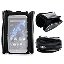 DURAGADGET Small Shockproof Bicycle Front Frame Saddle Bag with Double Pouch for the BLU Studio One, BLU Studio Selfie LTE, BLU Studio X Mini & BLU Vivo Selfie