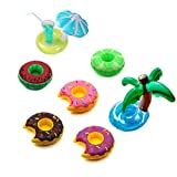 M_Eshop 7-Pack Inflatable Pool Drink Holder Swimming Party Drink Floats Inflate Floating Coasters,Fruits, Donuts,Mushroom,Palm