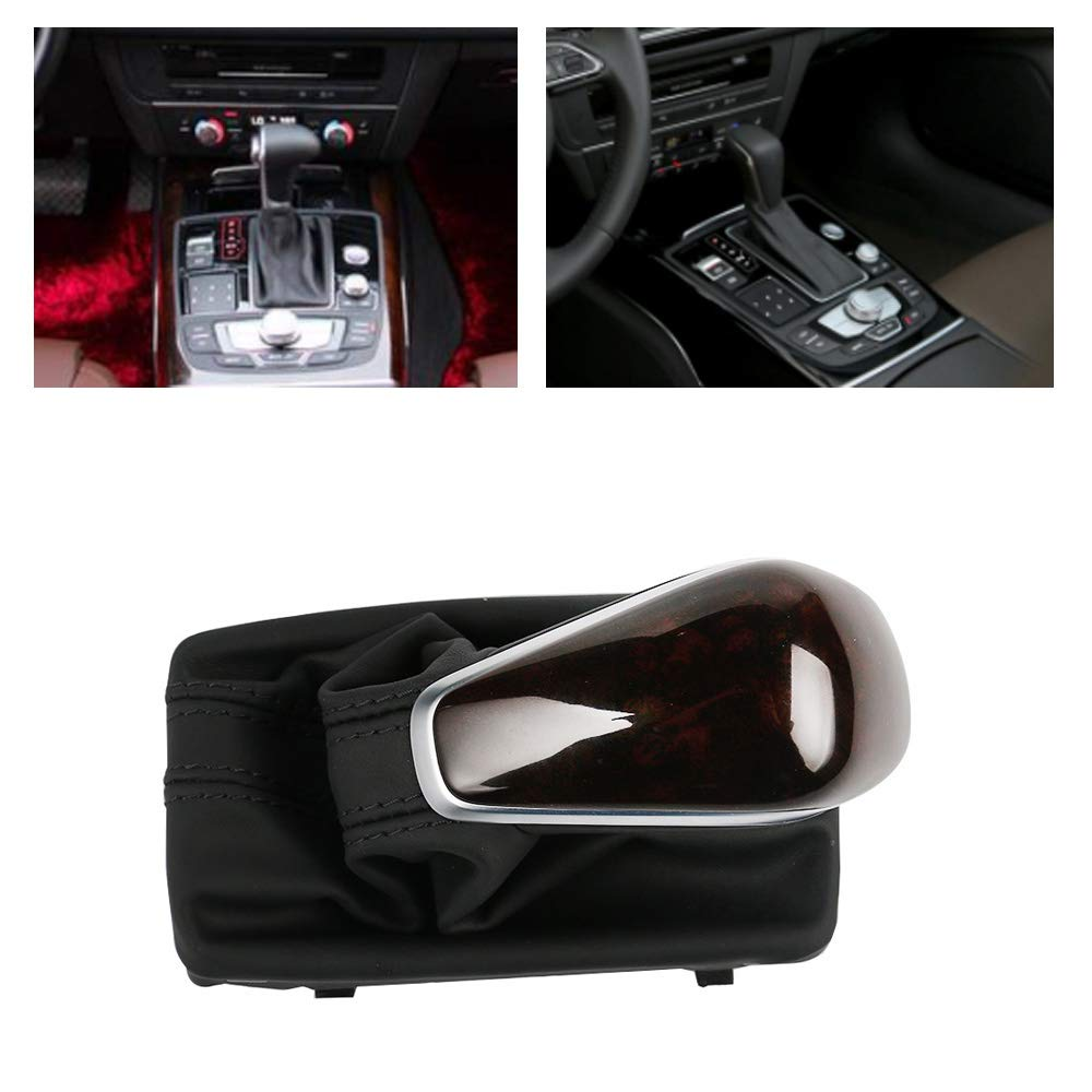 UPSM Peach Wood Gear Shift Knob Automatic W//Leather Boot Fit for Audi A6 C7 A7 2012 2013 2014 2015 4GD713139A