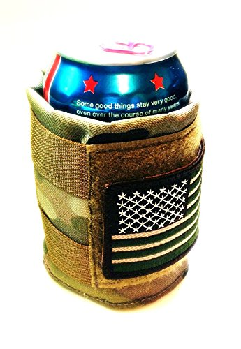 Tactical Multicam Military (Made in The USA) Beer Can Cooler with Hook/Loop with American Flag Patch - Drink Beer American