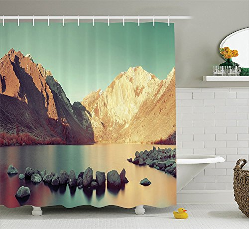 Lake House Decor Collection Snow Mountain and Convict Lake with Reflections in Yosemite Countryside Scene Polyester Fabric Bathroom Shower Curtain Set with Hooks Green ()