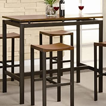 5pc Bar Table And Stools Set Veneer Top Matte Black Metal Amazon Co