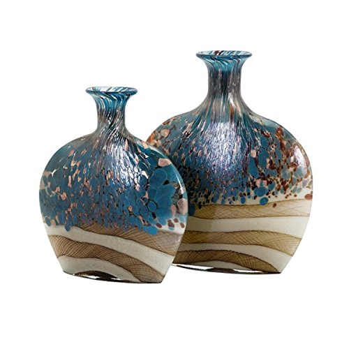 CC Home Furnishings Set of 2 Stone Blue, Brown and Ivory White Decorative Handcrafted Glass Vases