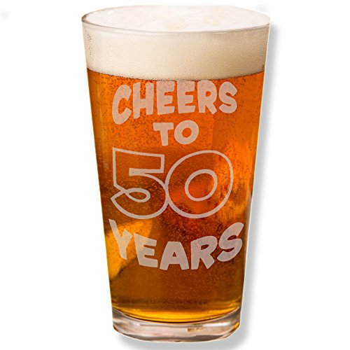 Shop4Ever Cheers To 50 Years Laser Engraved Beer Pint Glass ~ 50th Birthday Gift ~ (Clear, 16 oz.) by Shop4Ever