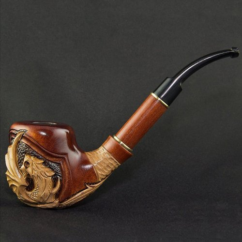 7.36'' 'Dragon'. Long carved wooden smoking pipe with cooling & for 9mm filter. Best smoking pipes. WORLDWIDE shipping.