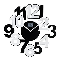 Frameless Wall Clock - Contemporary Styled Overlapping and Alternate Black & White Colors