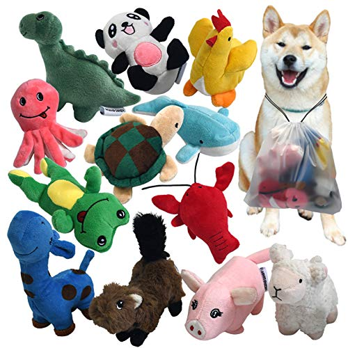 Squeaky Plush Dog Toy Pack for Puppy, Small Stuffed Puppy Chew Toys 12 Dog Toys Bulk with Squeakers, Cute Soft Pet Toy…
