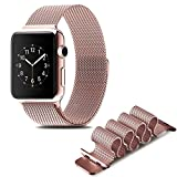 #5: Wingco Apple Watch Band - Magnet Closure, 38mm Milanese Loop Stainless Steel Bracelet Strap, Replacement Wrist Band for iWatch - Rose Gold