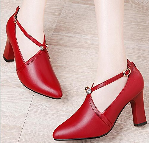 KHSKX-Red 8Cm Single Shoes Female Korean Version Of The Thick With Wet Shoes High-Heeled Shoes Water Drilling Small Spring And Summer New 36 O1CYggMkPj