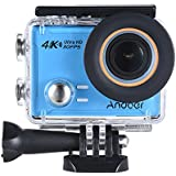 4K Action Camera, Andoer AN100 WIFI Sports Action Video Camera 30MP 1080P/120fps 2.0 IPS Screen 170° Wide Angle Waterproof 45m cam Support Gyro G-sensor FPV External Mic with Hard Case (Blue)