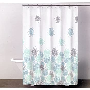 Amazon.com: DKNY Brushstroke Floral Reef Blue Fabric Shower Curtain ...