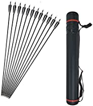 12 Pcs 34 Inch Archery High Percentage Carbon Arrows Spine 500 Practice Hunting Carbon Fiber Arrows with Turke