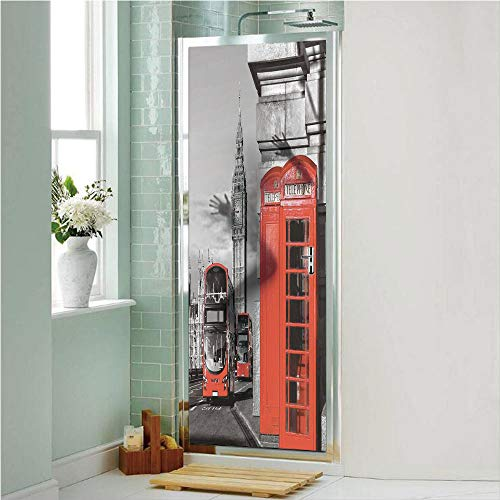 """London 3D No Glue Static Decorative Privacy Window Films, London Telephone Booth in The Street Traditional Local Cultural Icon England UK Retro,17.7""""x70.8"""",for Home & Office Decor,Red Grey"""