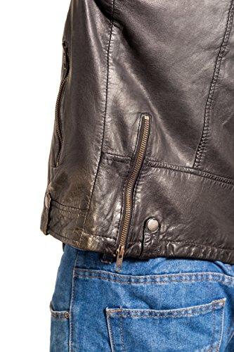 Uomini Classicoa Colletto In Pelle Zip Dell'annata Di Brando Motociclista Nero Giacca Trapuntata Senza Lato Del Satt5xgwq