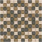 MTO0413 Modern Stacked Squares Grey Brown Khaki Matte Glass Stone Mosaic Tile