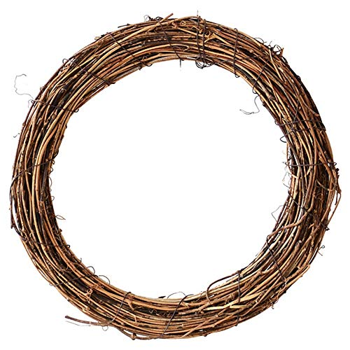 Cheap Diy Halloween Wreaths (PanDaDa Christmas Wreath for Front Door Outside Natural Dried Rattan Ring Wreaths DIY Crafts Grapevine Wreath Wall Hanging Xmas Vintage)