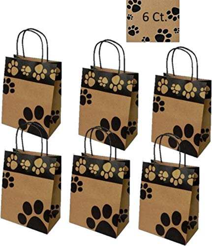 Gift Bags Dog Paw Prints 6 Count - Bags Only (Medium, Kraft - Cat Bags Treat Black