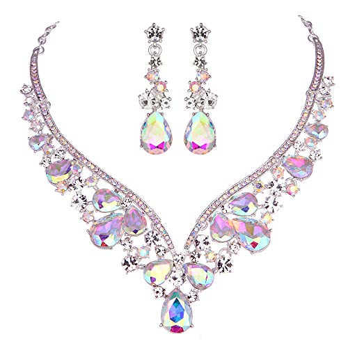 - Youfir Rhinestone Crystal V-Shaped Bridal Wedding Necklace Earrings Jewelry Set for Brides Gown (Crystal AB)