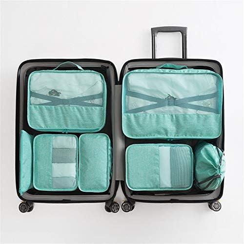 旅行用収納袋 7ピースパッキングキューブのセット旅行オーガナイザー荷物圧縮ポーチ防水服収納袋旅行や家庭用 ハンドロールアップ再利用可能な服 (色 : 緑, Size : Free size)
