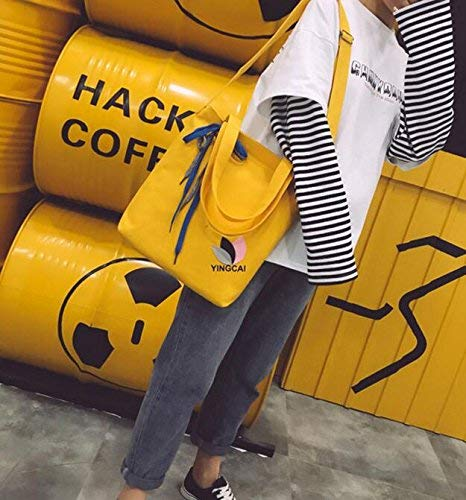 WHXYAA Yellow Student Canvas Bag Detachable Bow Female Bag Lady Tote Bag Simple Atmosphere