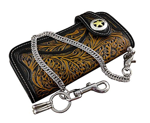Trucker Carved Chain Biker Leather Long Wallet Tan Mens With fOS6zw