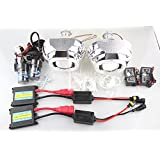 "CAR ROVER® 2.5"" Bixenon H1 Projector Len White Angle Eyes with Shroud and 1 Set 55W Xenon HID Kit 8000K"