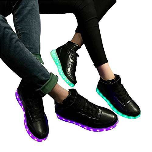 Reinhar PrevailingUnisex Pure Color LED Light Flats Shoes BlackAsia 42(Foot length - Shopping Dunedin