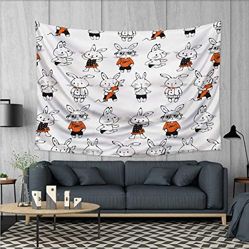 Anhuthree Funny Tapestry Wall Tapestry Cute Retro Bunny Rabbits with Costumes Jack Hare Funky Bunnies Carrot Sketch Style Art Wall Decor 60