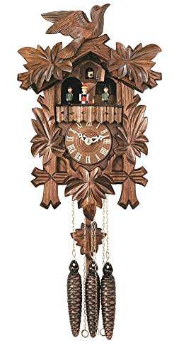 River City Clocks One Day Musical Cuckoo Clock with Dancers, Five Hand-carved Maple Leaves, and One Bird - 14 Inches Tall - Model # MD411-14