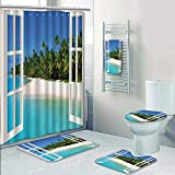gazebo curtains 12x14 AmaPark 5 Piece Bath Set:1 Large Bat Mat 1 Contour Mat 1 Bath Towel,Paradise Island View from Gazebo Palm Tree Beach Theme Pictures Arts Blue Green Pattern Printing Suit