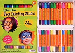 Face Painting Sticks 24 Color Set -Long Lasting Twist up Crayon Style Sticks