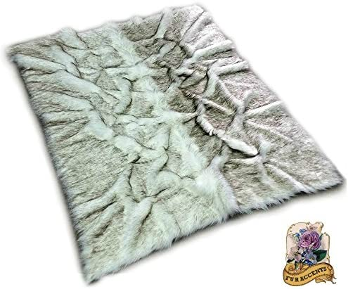 Custom Black Tip Russian Wolf Root Rug/Shag Faux Fur White