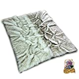 Custom Black Tip Russian Wolf Root Rug / Shag Faux Fur White with Black Tips Exclusive Art Rug Design (4'x6')