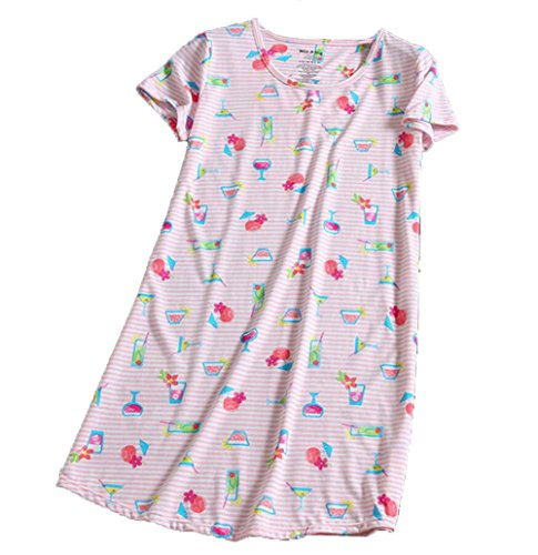 Amoy-Baby Women s Cotton Blend Pink Floral Nightgown Casual Nights 2XL  XTSY001 bb0ceb9e9