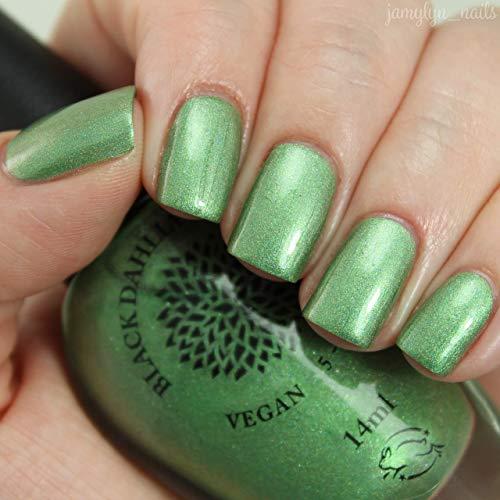 Chrome Lotus | Fern Green Foiled Shimmer Holo Nail Polish | By Black Dahlia - Emerald Lacquer